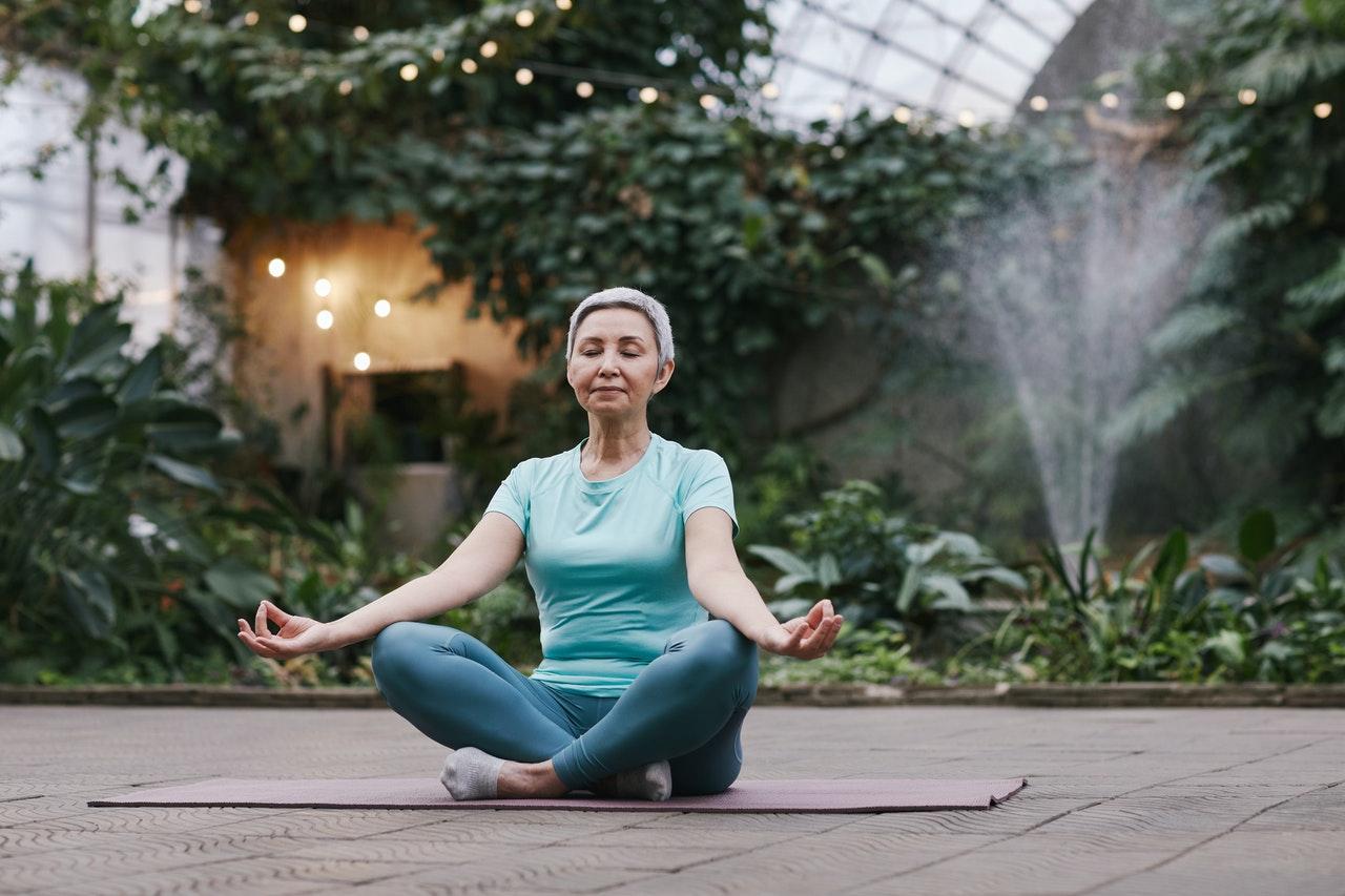 senior meditating